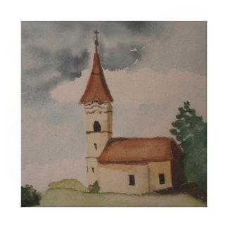 Mittelalterliche Kirchen-Wasserfarbe Galerie Gefaltete Leinwand