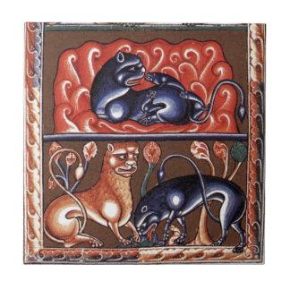 Mittelalterliche Kunst-LöweBestiary Bestiarium Min Kleine Quadratische Fliese