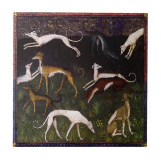Mittelalterliche Windhund-schöne Kunst Kleine Quadratische Fliese
