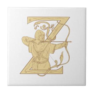 Mittelalterlicher Bogenschütze, der Bogen-und Kleine Quadratische Fliese