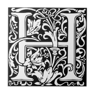 Mittelalterliches Monogramm-Vintage Initiale des Keramikfliese