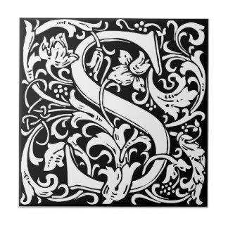 Mittelalterliches Monogramm-Vintage Initiale des Kleine Quadratische Fliese