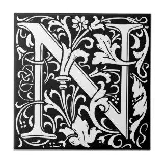 Mittelalterliches Monogramm-Vintage Initiale Keramikfliese