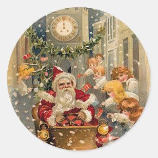 Mitternachts-Antriebs-Vintage Weihnachtskarte Runder Aufkleber