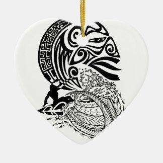 Mitternachtsbrandung Keramik Herz-Ornament
