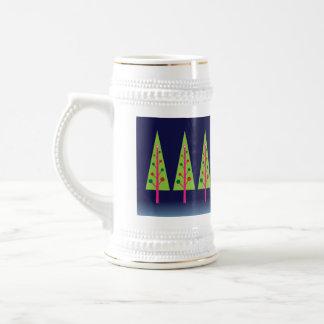 Mitternachtswald auf Weihnachtsabend Bierglas