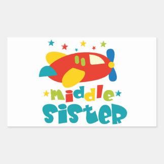 Mittleres Schwester-Flugzeug Rechtecksticker
