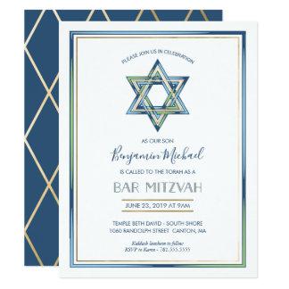 Mitzvah das Bar des Jungen Einladung; Davidsstern, Karte