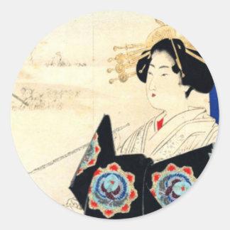 Mizuno Toshikata 水野年方, Kurtisane - asiatische Runder Aufkleber