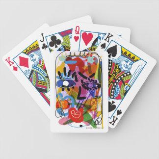 Mod-abstraktes Gesichts-Digital-Zeichnen Pokerkarten