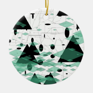 Mod Christmas Triangletree snowflakes  SIRAdesign Rundes Keramik Ornament