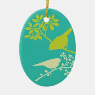 Mod-grüne Vögel Ovales Keramik Ornament