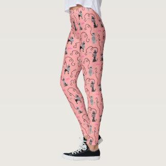 Mod-Rosa-Schwarz-cooles Muster 50er des Leggings