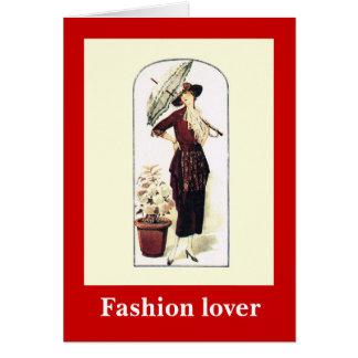Mode 1928, Dame mit einem Sonnenschirm Karte