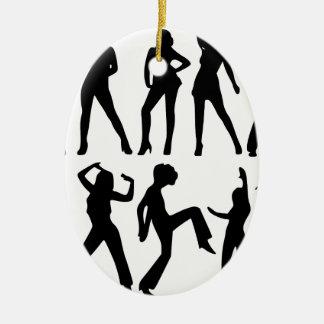 Mode-Modell-Silhouette Ovales Keramik Ornament