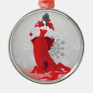Mode-Weihnachtsstilvolle rote graue Illustration Rundes Silberfarbenes Ornament