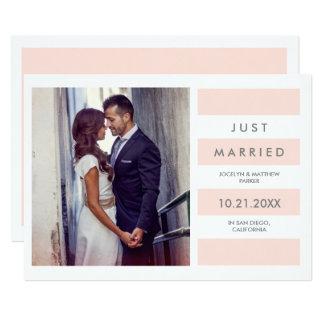 Modern erröten rosa verheiratetes Foto der 12,7 X 17,8 Cm Einladungskarte