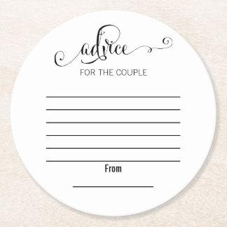 Modern Script wir Hochzeits-Ratepapier-Untersetzer Kartonuntersetzer Rund