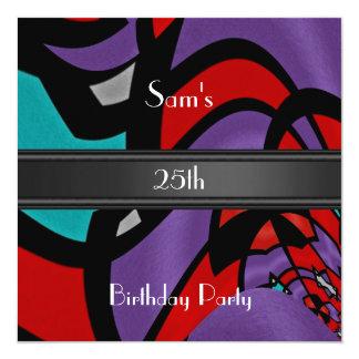 Moderne abstrakte Einladungs-25. Geburtstags-Party Quadratische 13,3 Cm Einladungskarte