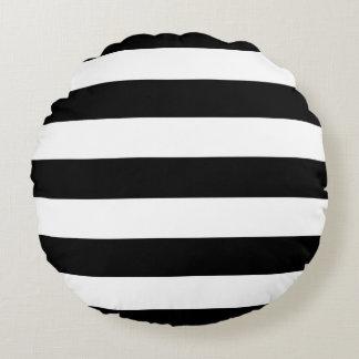 Moderne Art-Schwarzweiss-Streifen Rundes Kissen