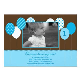 Moderne Ballon-Foto-Geburtstags-Einladung - Blau 12,7 X 17,8 Cm Einladungskarte
