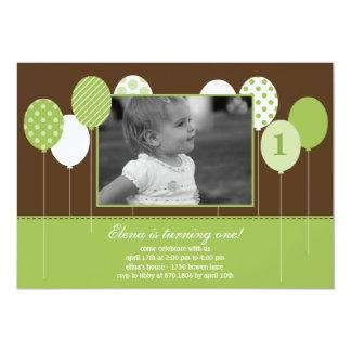Moderne Ballon-Foto-Geburtstags-Einladung - Grün 12,7 X 17,8 Cm Einladungskarte