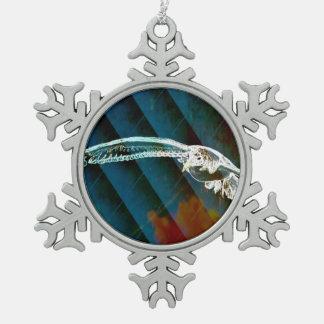 Moderne blaue abstrakte Ozean-Vögel, die Seemöwe Schneeflocken Zinn-Ornament