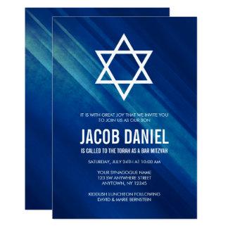 Moderne blaue Grunge-Bar Mitzvah Einladungen