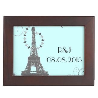 moderne blaue Vintage Paris-Hochzeit Eiffel-Turms Erinnerungsdose