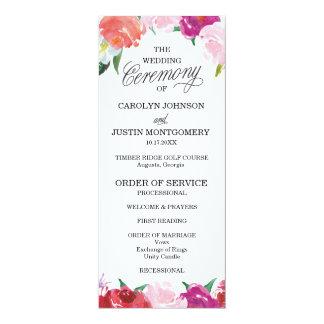 Moderne BlumenAquarell-Hochzeits-Programme 10,2 X 23,5 Cm Einladungskarte