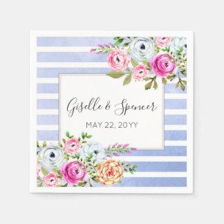 Moderne BlumenAquarell-Marine-Streifen-Hochzeit Papierserviette