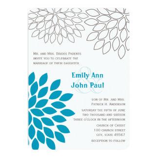 Moderne Blumenchrysantheme-Hochzeits-Einladungen 12,7 X 17,8 Cm Einladungskarte