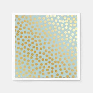 Moderne Confetti-Tupfen-Muster-Minze und Gold Papierserviette