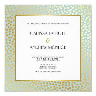 Moderne Confetti-Tupfen-tadellose Goldhochzeit Quadratische 13,3 Cm Einladungskarte