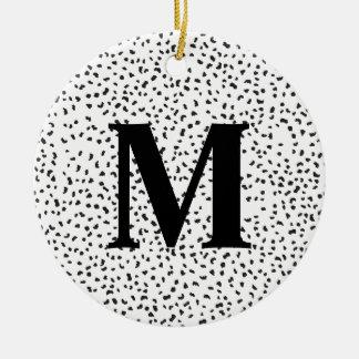 Moderne dalmatinische Schwarzweiss-Stellen Rundes Keramik Ornament
