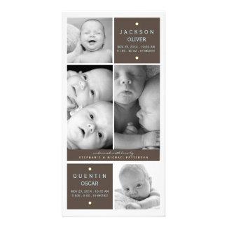 Moderne Doppeljungen-Foto-Baby-Geburts-Mitteilung Bildkarte