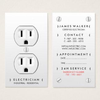 Moderne einfache weiße Steckdose des Elektrikers Visitenkarten