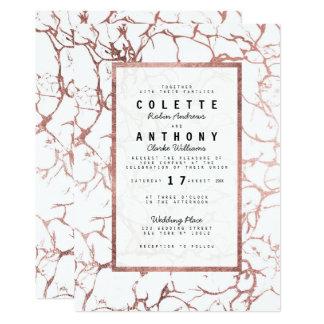 Moderne elegante Imitat-Rosengoldmarmor Hochzeit Karte