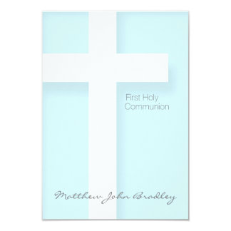 Moderne erste heilige Kommunion im Blau 8,9 X 12,7 Cm Einladungskarte