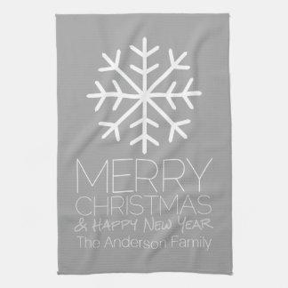 Moderne frohe Weihnacht-Schneeflocke - silbernes Küchenhandtücher