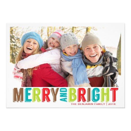 Moderne fröhliche helle Weihnachtsgruß-Foto-Karte Personalisierte Einladungen