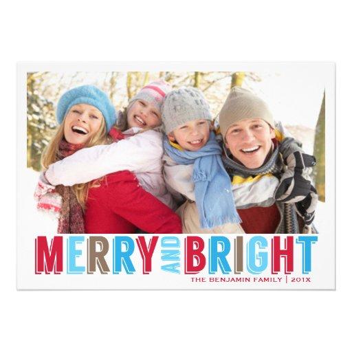 Moderne fröhliche helle Weihnachtsgruß-Foto-Karte Individuelle Ankündigskarten