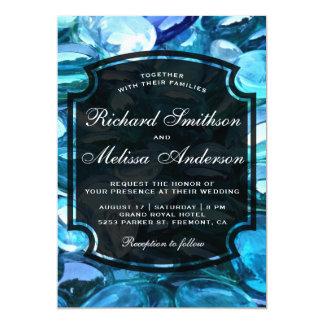Moderne funkelnde blaue Edelsteine, die Einladung