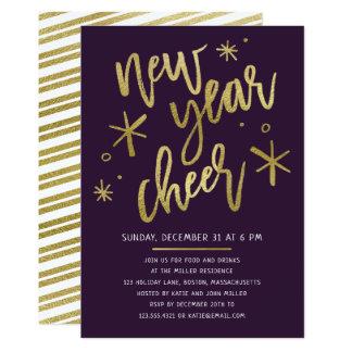 Moderne Goldfolien-Silvester-Party Einladung