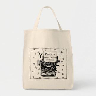 Moderne Hand gezeichnete Vintage Schreibmaschine Einkaufstasche