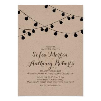 moderne Hochzeit der Packpapier-Schnurlichter lädt 12,7 X 17,8 Cm Einladungskarte