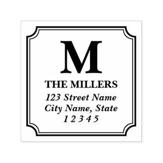 Moderne klassische Familienname-Monogramm-Adresse Permastempel