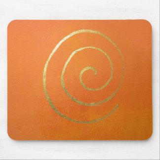 Moderne Kunst-abstrakte Orangen-und Goldmalerei Mauspads