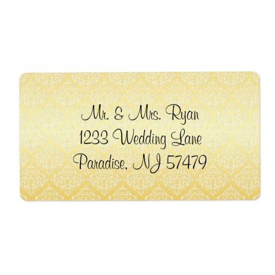 Moderne modische Hochzeit in einem gelben Damast Versand Aufkleber