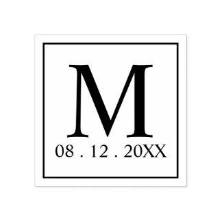 Moderne Monogramm-Gastgeschenk Hochzeit Gummistempel